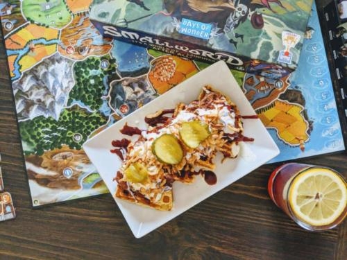 Pulled Pork Waffle and Smallworld