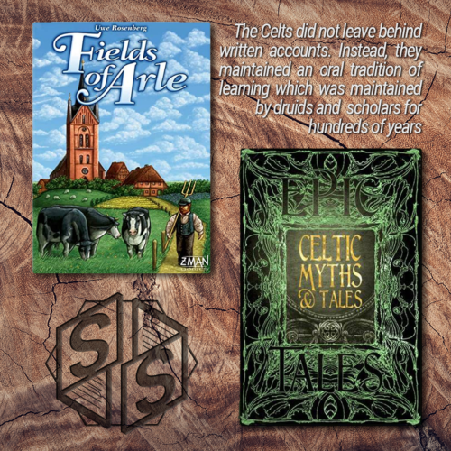 """""""Fields of Arle"""" by Feuerland Spiele, 2014 & """"Celtic Myths & Tales: Epic Tales"""" 2018"""