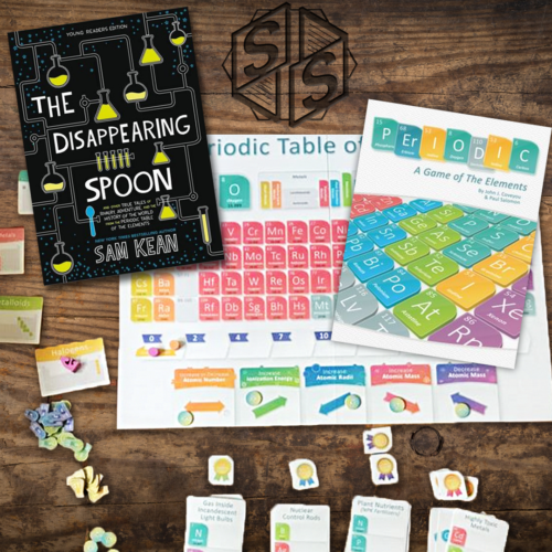 """""""The Disappearing Spoon: And Other True Tales of Madness, Love, and the History of the World from the Periodic Table of the Elements"""" by Sam Kean, 2010 & """"Periodic: A Game of The Elements"""" by Genius Games, 2019"""