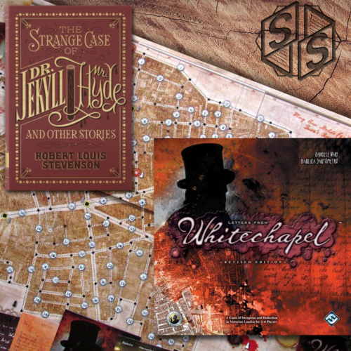 """""""Strange Case of Dr Jekyll and Mr Hyde"""" by Robert Louis Stevenson, 1886 & """"Letters from Whitechapel"""" by Fantasy Flight Games, 2011"""