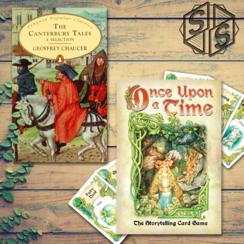 """""""The Canterbury Tales"""" by Geoffrey Chaucer. 1476 & """"Once Upon a Time"""" by Angry Lions Games, 1993"""